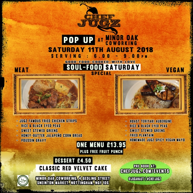 Minor Oak Popup Soul-food Saturday Special 11th Aug 2018